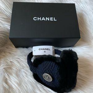 CHANEL Rabbit Fur Tweed CC Earmuffs Blue Black